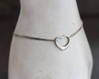 Heart Bracelet - Sterling Silver - Double Strand Chain Elegant Love Bracelet