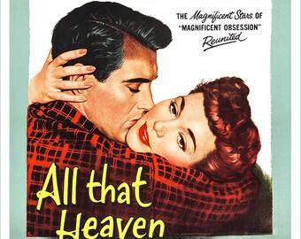 "All That Heaven Allows - Romance Movie Poster Print - Home Theater Decor - 13""x19"" or 24""x36"" Movie Poster Art - Rock Hudson - Jane Wyman"