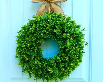 Boxwood Wreath - Farmhouse Wreath - Farmhouse Door Decor