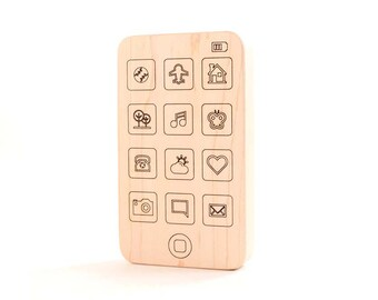 cell phone wooden baby toy - natural teething toy for new baby gift, personalized toy smart phone