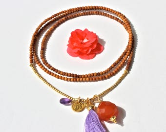 Sandalwood + CARNELIAN Om long layer necklace