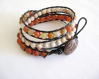 Leather Bracelet,Triple Wrap Bracelet,Carnelian Agate Bracelet,Agate Bracelet,Gemstone Triple Wrap Bracelet,Natural Wrap Bracelet, Leather