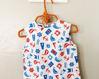Vintage NAUTICAL Top // GIRLS Small SAILOR Tank Top Blouse // Red White and Blue Shirt // 29 inch bust Childrenswear Size 12