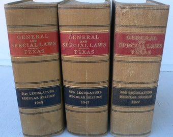 vintage law books, Texas, General and Special Laws, 1947 and 1949, photo props, stage set from Diz Has Neat Stuff