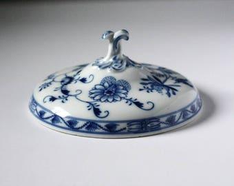 Meissen blue onion lid, blue and white, tureen lid, Hutschenreuther, Copenhagen blue onion