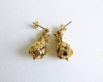 Vintage Gold Tone Pineapple Dangle Earrings