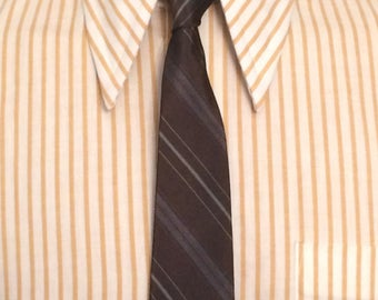 Vintage MENS Marshall Field's brown, grey and blue diagonal striped silk skinny tie