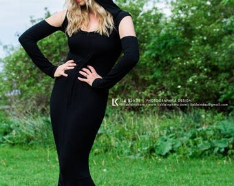 Ninja Gown. Hooded, off shoulder mermaid style dress has full length sleeves and front zipper. Black stretch fabric, so soft! Size small.