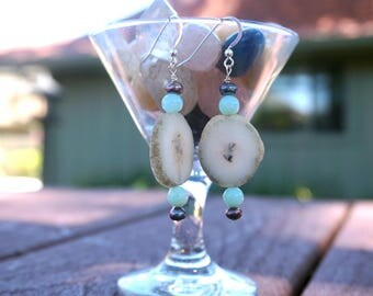 Geodes, Freshwater Pearls and Blue Agate Earrings