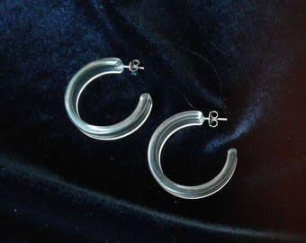 Hoop Earrings Lucite Translucent Grey Pierced Vintage