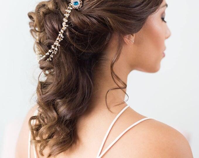 Art Deco Draped Headpiece, Moonstone Draped Headpiece, bridal hair chain, Gold Forehead Piece, Draped Hair piece, wedding chain headpiece