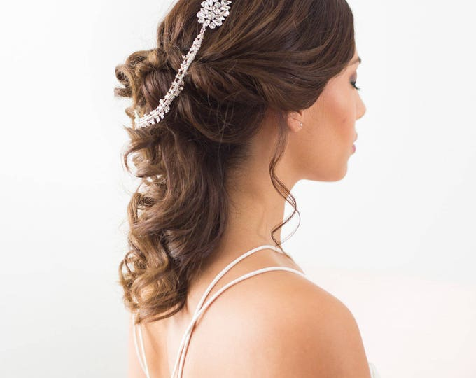 Silver Crystal Draped Headpiece, Moonstone Draped Headpiece, Crystal bridal hair chain, Silver Forehead Piece, Draped Hair piece, headpiece