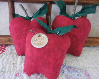 Primitive Apple Bowl Fillers Kitchen Decor Red Delicious Apples Fall Harvest