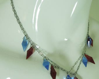 Pair 1920 Art Deco Crystal Drop Necklaces Blue Red Plus Bonus Matching Brooch Bridal Jewelry Wedding Necklace