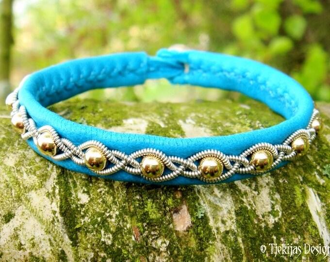 Lapland Beauty Bracelet GJALL 14K Gold and Turquoise Leather Bangle Sami style Viking Bracelet Custom Handmade to Your Wishes