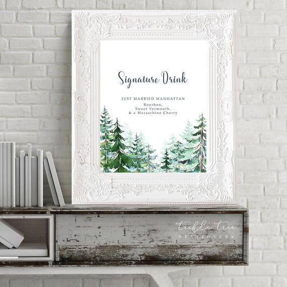 Reception Signs/Signature Drinks - Evergreen Forest (Style 13608)
