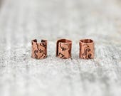 Copper ear cuff // stamped cat pattern // non-pierced // READY TO SHIP