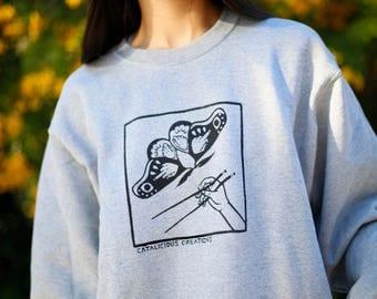 Gray Moth Fleece Crew-neck Sweatshirt
