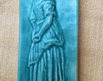 Ceramic Art Tile wall hanging Old World Figure green
