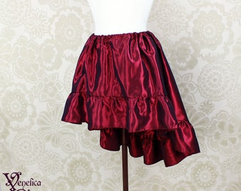 "Steampunk High Low Mini Cecilia Skirt -- Magenta Taffeta -- Ready to Ship -- Best Fits Up To 45"" Waist"