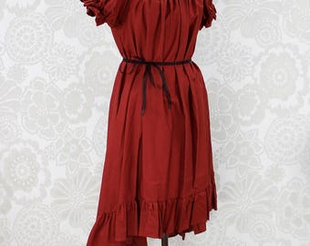 "Steampunk Ragamuffin Dress with Cora Sleeves in Spice Cotton -- Size Medium, Fits Bust 36""-42"" -- Ready to Ship"