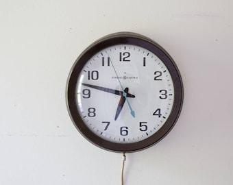 Vintage General Electric School Clock - Vintage Classroom Wall Clock Mid Century Schoolhouse Clock GE Plug In Works Working