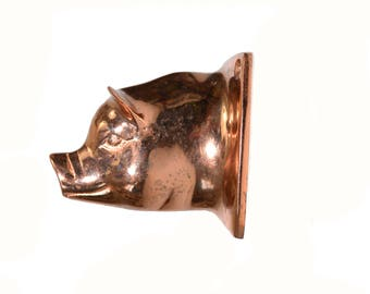 Vintage Copper Pig Hook Copper Pig Head Hook Copper Pig Wall Hook Copper Pig Apron Hanger Farmhouse Decor Pig Towel Hook Pig Coat Hook