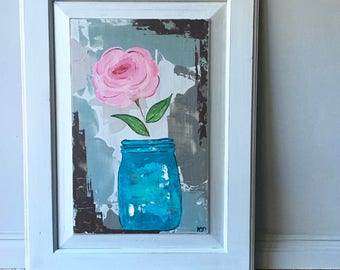 Blue Mason Jar with Pink Flowers Original Painting on Recycled Cabinet Door
