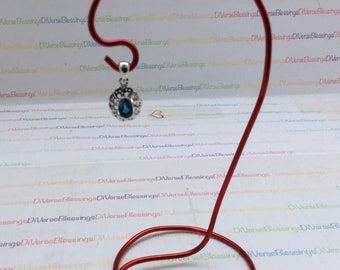 London Blue, Oval Shape, Marked MCTH 925, Attached Bale, Sterling Silver, 925, Charm, Pendant, Possibly Topaz or Zircon