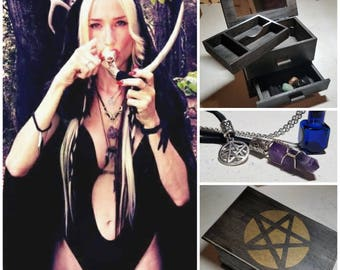 SALE! Stoner Witch Stash Box With Mirror, Altar Cloth, Crystal/Pentagram Necklaces, Antique Glass Bottle Necklace, Crystals In Velvet Pouch