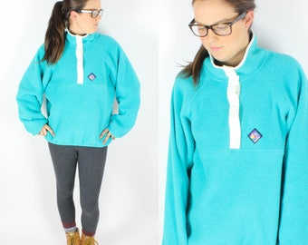 Vintage Retro Light Blue Woolrich Fleece Sweatshirt Medium