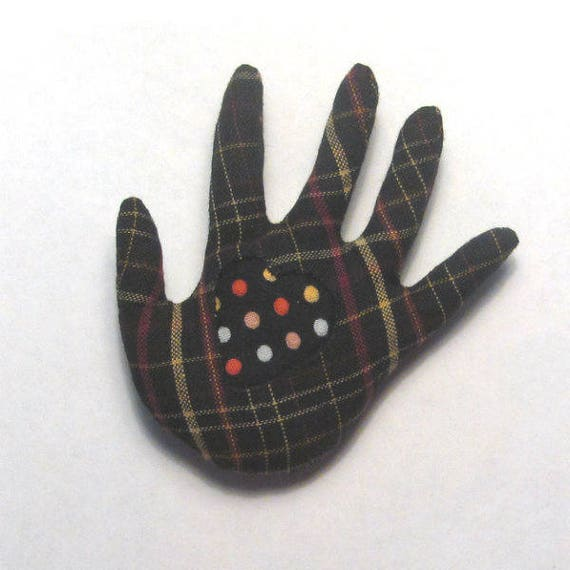 Polka Dotty Heart in Hand Brooch ~ Hamsa Pin ~ Ready to Ship