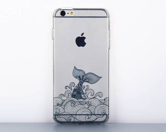 iPhone 6s /8 plus case with whale pattern Clear iPhone 7 plus case iPhone SE cover - TS6P085U
