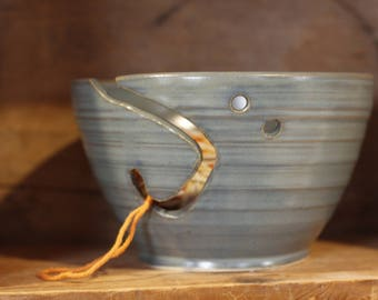Yarn Bowl in Peacock by Village Pottery PEI