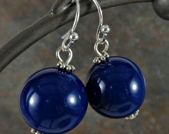 Gumball Earrings, Round Bead Earrings, Blue, Navy, Chunky Earrings, Drop Earrings, Dangle Earrings, Silver, Blue Earrings, Ball Earrings