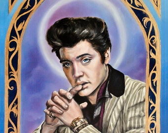 Saint Elvis Presley The King Art Print- matted 5x7