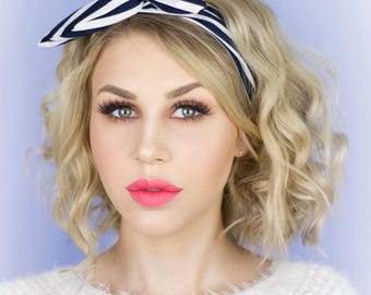 Navy Blue & White Stripe Nautical Wired Headband