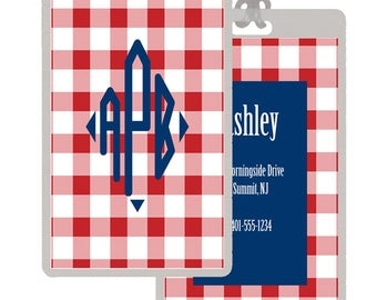 Personalized/Customized Red Gingham Luggage Tags -- Set of 2