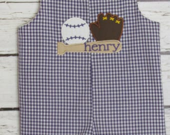 Baby Boy Shortall Longall Baseball Louisiana Tigers Romper jon jon Monogram 1st Birthday Outfit