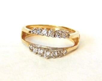 14K Vintage Diamond Ring Enhancer, Yellow Gold, Ring Guard, Wedding,Engagement