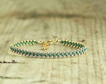 Friendship bracelet Teal and Gold,dainty bracelet,handmade beaded bracelets,stack bracelets,trendy jewelry,bracelet for her,thin bracelet