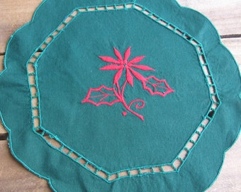 Christmas Embroidered Doily, Vanity Scarf, Table Linen, Christmas Centerpiece, Floral Doily, Christmas Decor, Octagon Doily, Green and Red