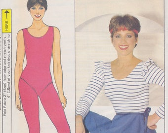 1980s Dorothy Hamill Flashdance What a Feeling! Workout Togs Vintage Pattern, Butterick 4819 Bodysuit, Footless Tights, Leggings, Wrap Skirt