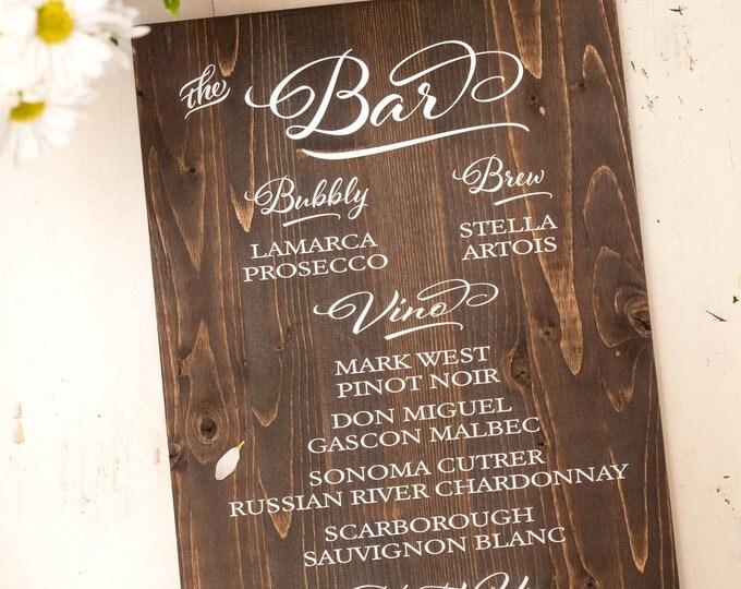 Wedding Sign // Reception Sign // Wedding Bar Sign // Custom Bar Sign // Wedding Signage // Reception Signs // Wedding Menu