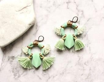 Green Tassel Earring, Statement Earrings, Hoop Earrings, Tribal Earrings, Boho Chandeliers, Abstract Earrings, Rope Earrings, Fringe Earring