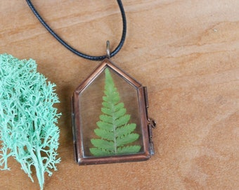 Fern Necklace, Real Fern, Fern Necklace, Christmas Gifts, Sale, Stocking Stuffer, Canadian Jewellery, Glass Locket, Copper Necklace, Plants