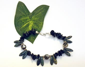 """Black Agate, Mosaic Shell, Picasso Czech Daggers, 7"""" gemstone sterling silver daisies bracelet"""