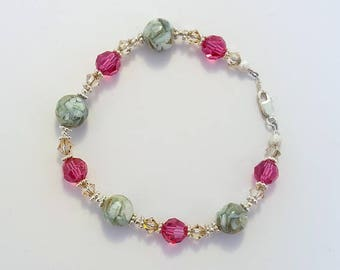 """Pink and Topaz Swarovski Crystals - Pastel Blue Mosaic Shell Beads - 7.5"""" sterling silver daisies bracelet"""