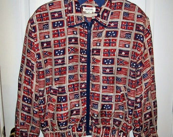 Vintage Ladies US & World Flag Printed Silk Windbreaker Bomber Jacket by Bogari Small Only 12 USD