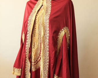 Gypsy Cloak and Tunic Dress | Fantasy Fashion | Red and Gold Cloak and Dress | Embroidered Long Sleeve Red Dress | Indian Anarkali